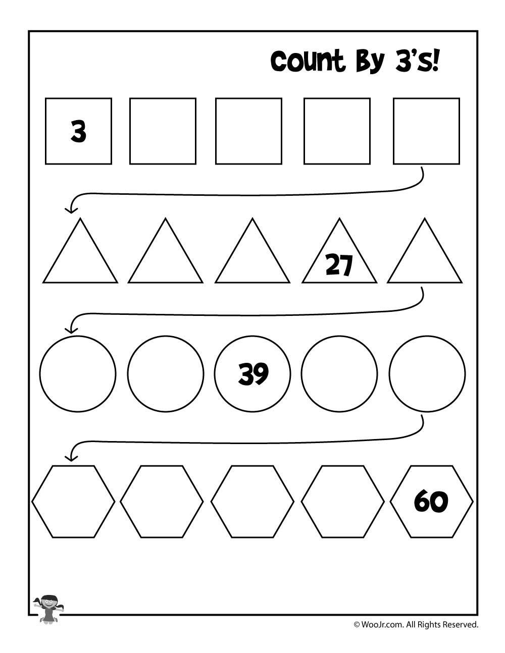 Count3's Worksheet  Woo Jr Kids Activities Throughout Skip Counting By 3 Worksheet