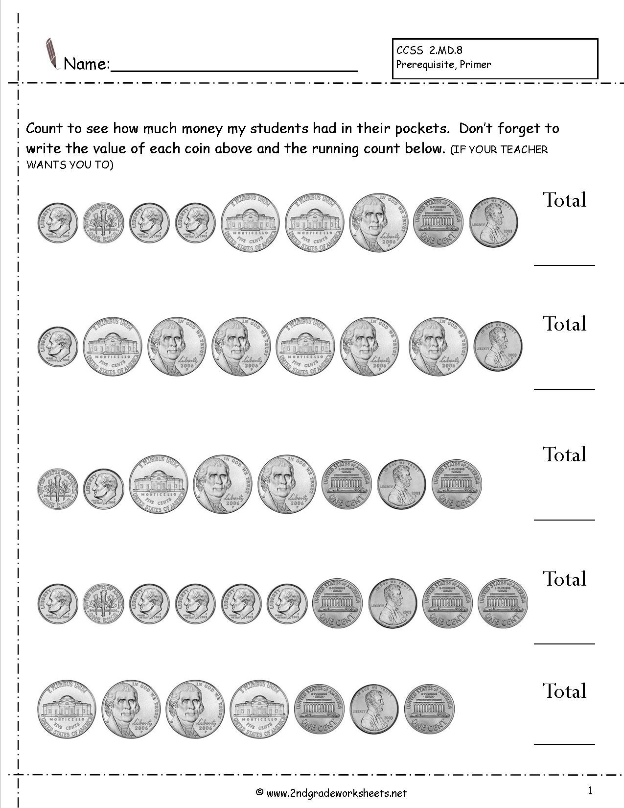 Counting Coins And Money Worksheets And Printouts Inside Money Recognition Worksheets