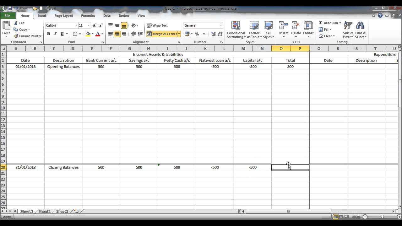 Create A Bookkeeping Spreadsheet Using Microsoft Excel - Part 2 ... With Regard To Sole Trader Accounts Spreadsheet