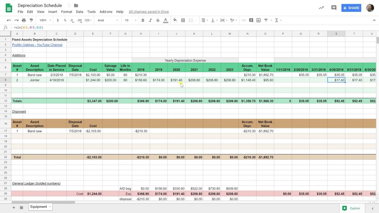 Create A Depreciation Schedule In Google Sheets | Straight Line ... Along With Fixed Asset Depreciation Excel Spreadsheet