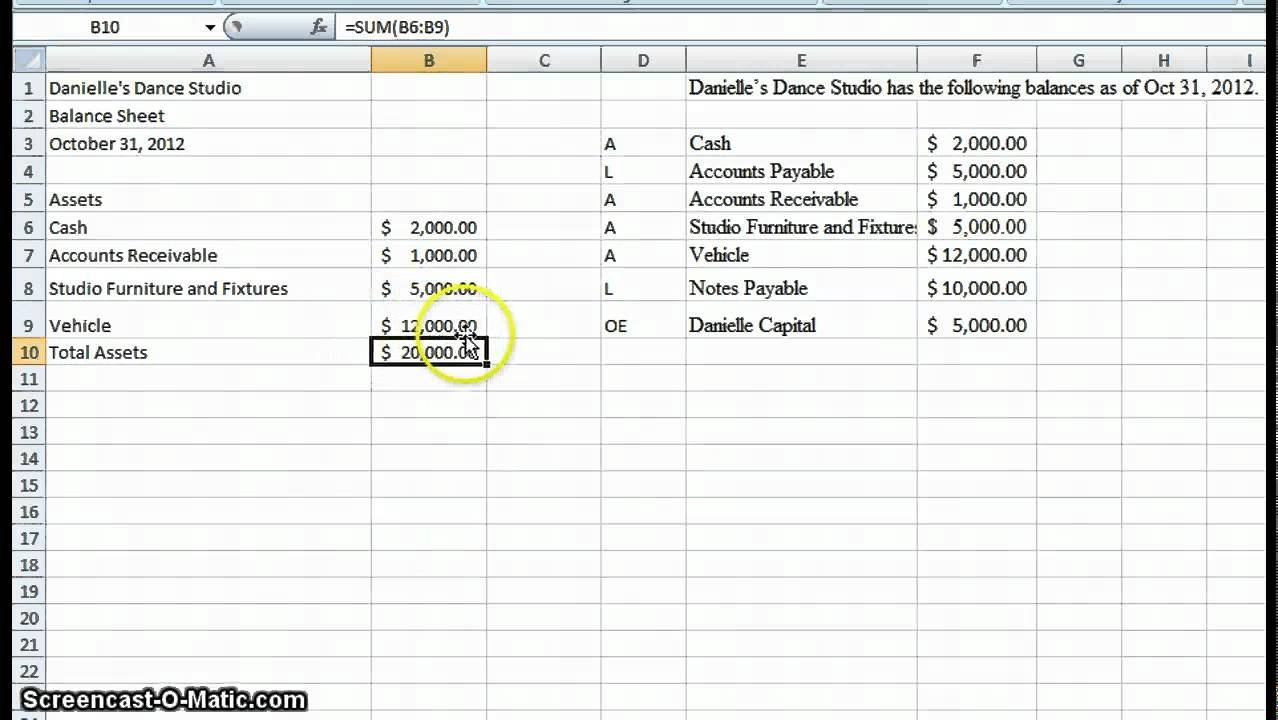 Create A Simple Balance Sheet   Youtube Within How To Create A Simple Excel Spreadsheet