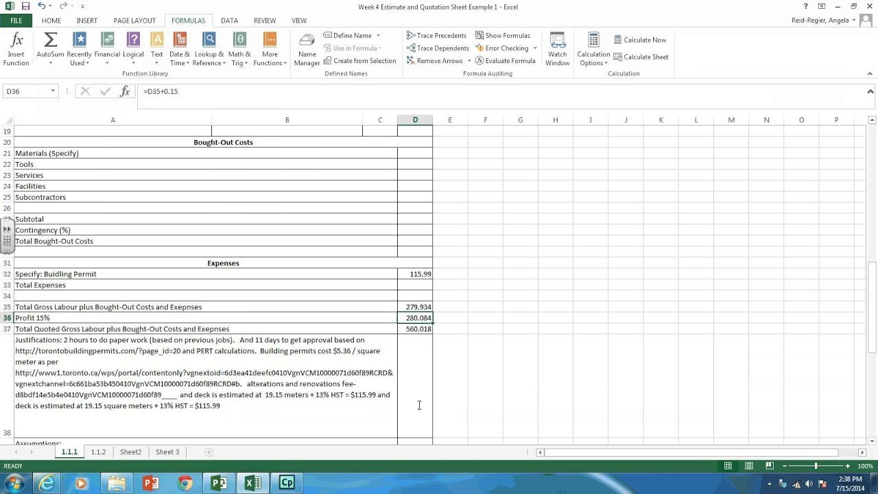 Creating Estimate And Quotation Sheets In Excel - Youtube For Plasma Cutting Cost Spreadsheet