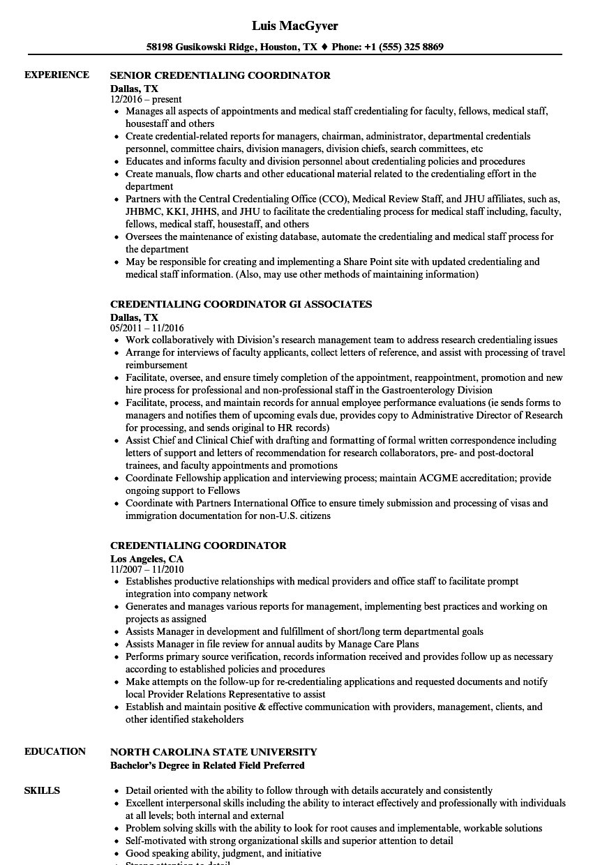 Credentialing Coordinator Resume Samples | Velvet Jobs And Medical Credentialing Spreadsheet Template