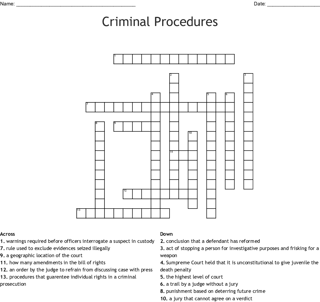 Criminal Justice Crossword  Wordmint Within Due Process In Criminal Proceedings Worksheet Answers