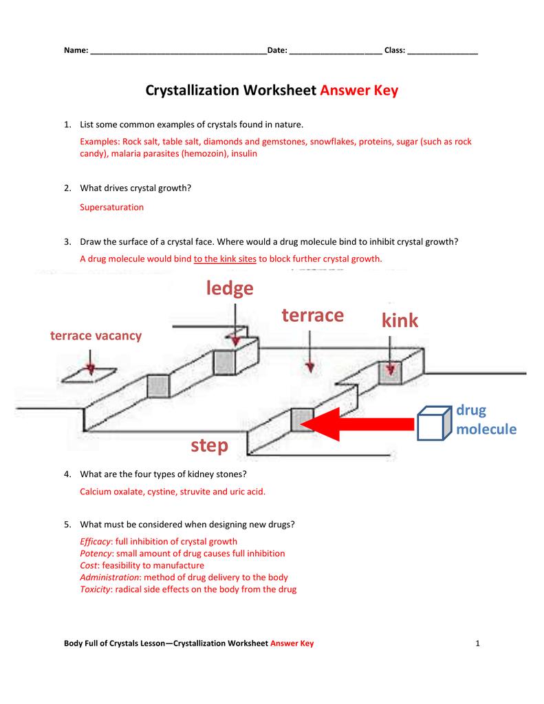 Crystallization Worksheet Answer Key For Growing Crystals Lab Worksheet