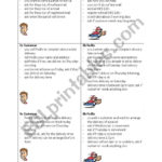 Customer Service Pick Up And Delivery Activity Cards  Esl And Customer Service Activity Worksheet