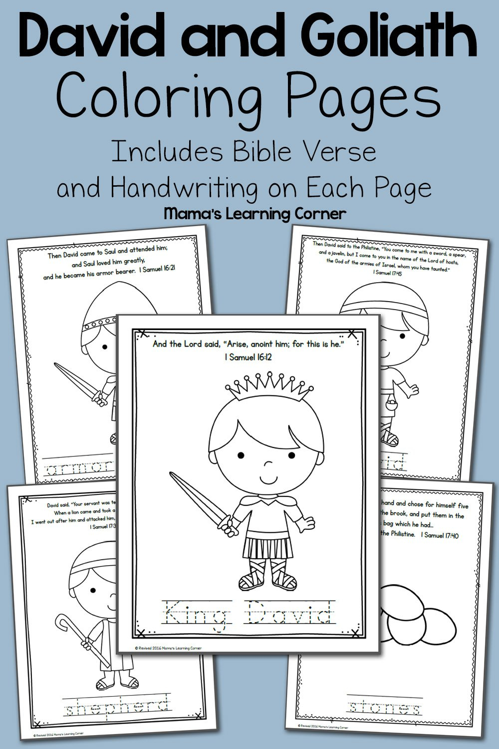 David And Goliath Bible Coloring Pages  Mamas Learning Corner Along With David And Goliath Worksheets