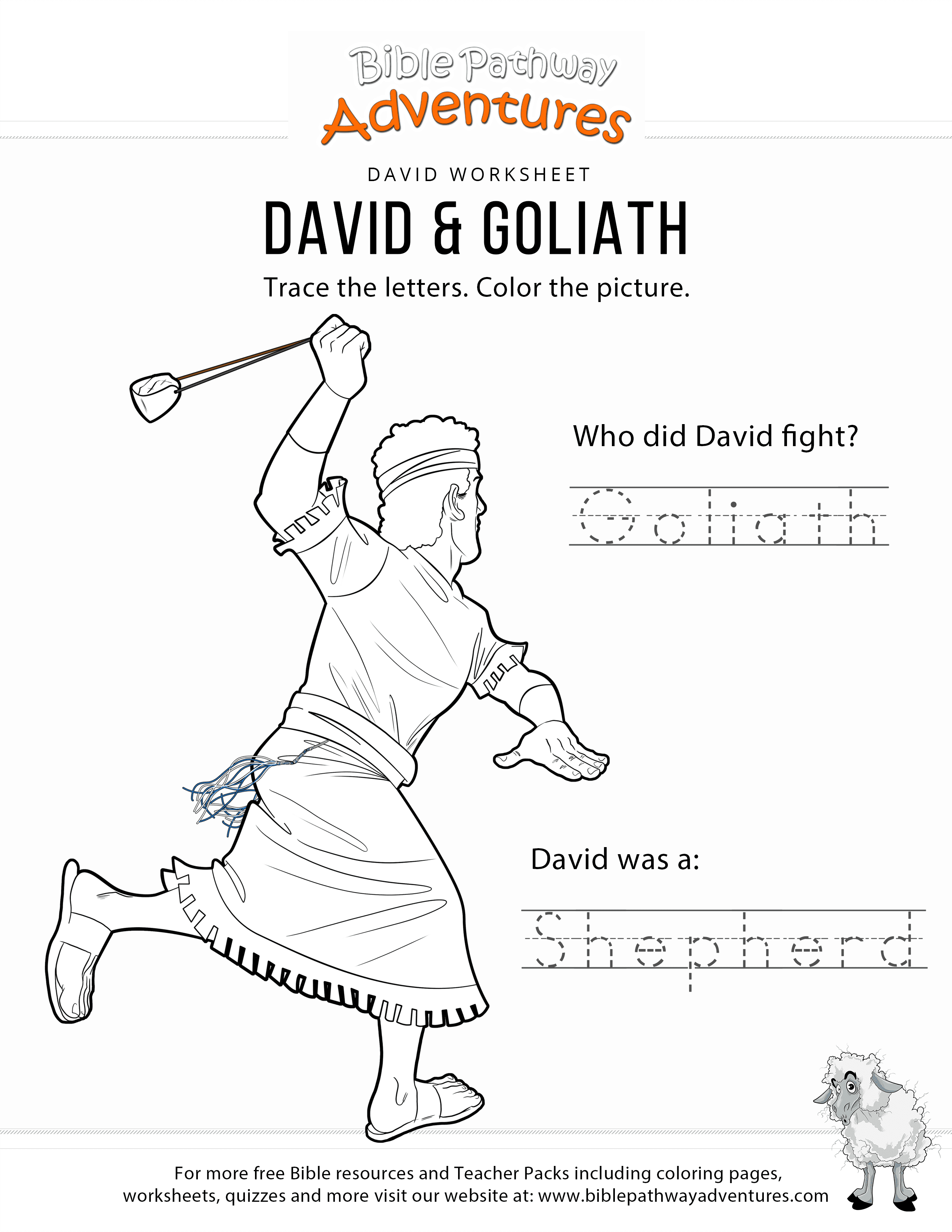 David  Goliath Copy And Coloring Page – Bible Pathway Adventures For David And Goliath Worksheets