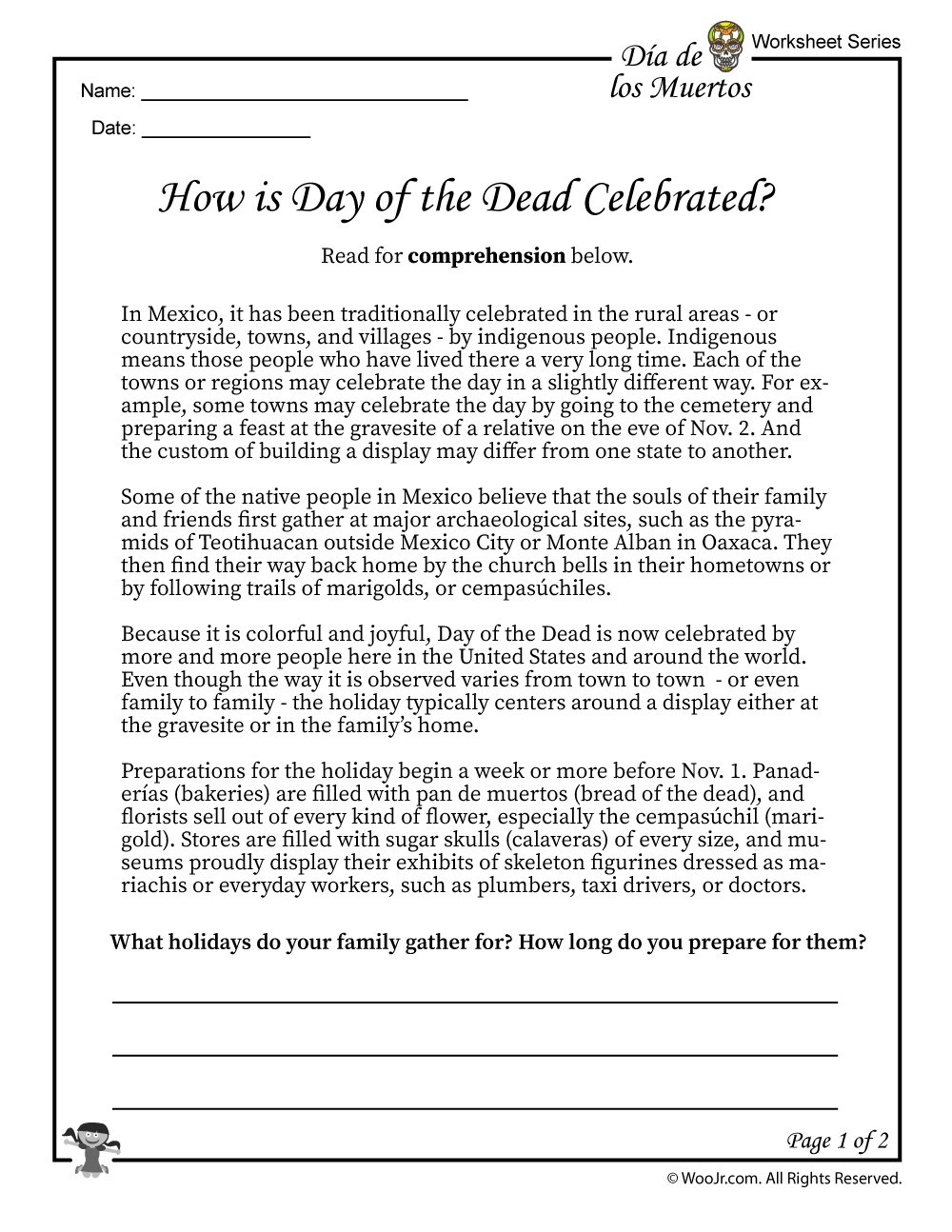 Day Of The Dead Facts Worksheet 1  Woo Jr Kids Activities Pertaining To Dia De Los Muertos Worksheet
