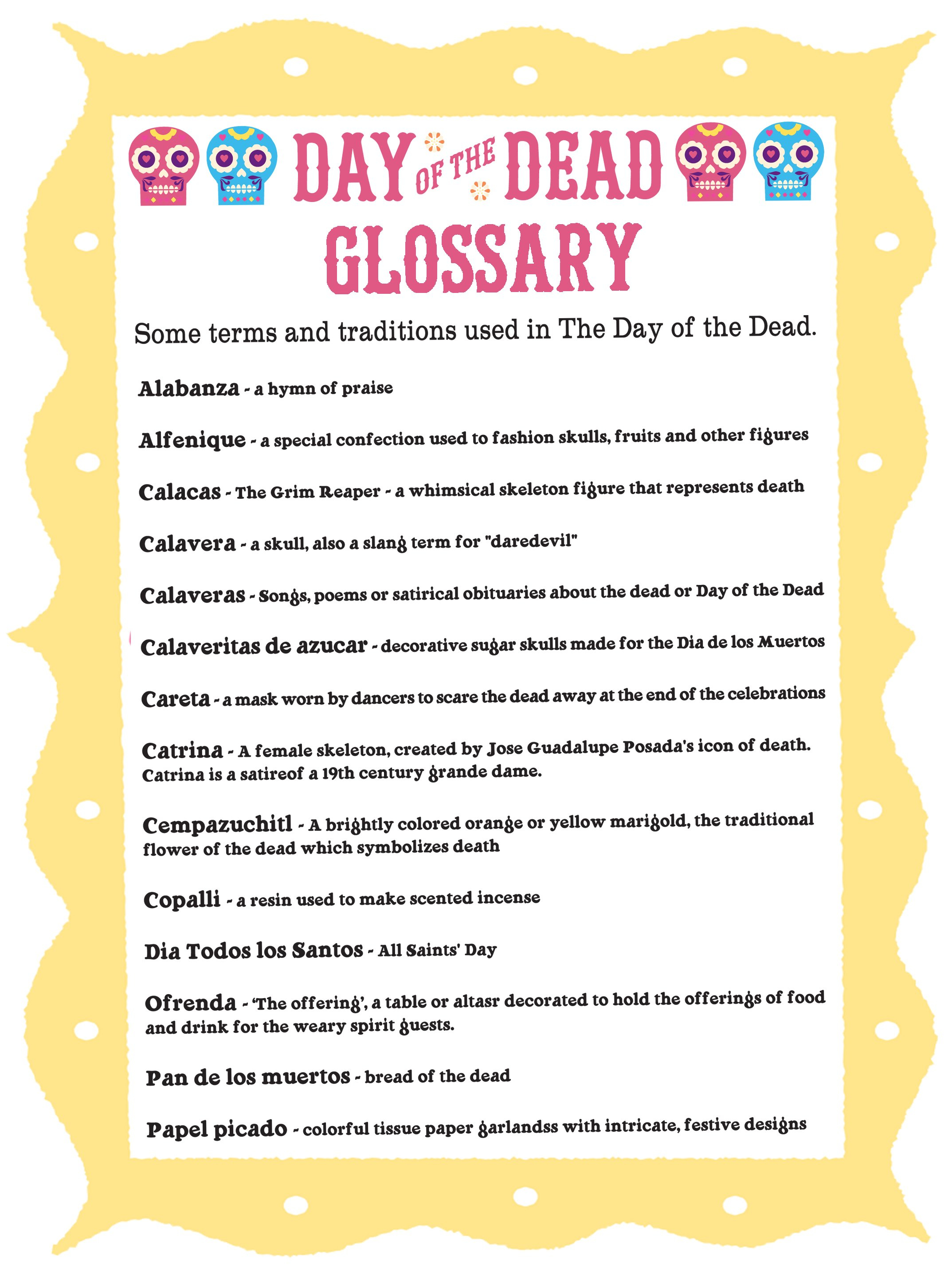 Day Of The Dead Glossary Dia De Los Muertos Terms  Traditions For Dia De Los Muertos Worksheet