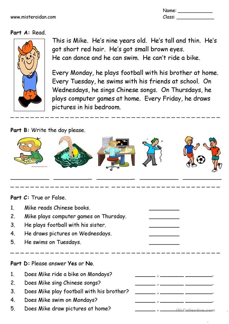 Days Of The Week  Easy Reading Comprehension Worksheet  Free Esl Within Easy Reading Worksheets