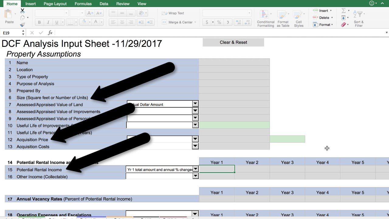 Dcf Analysis Workbook - Youtube As Well As Ccim Excel Spreadsheets