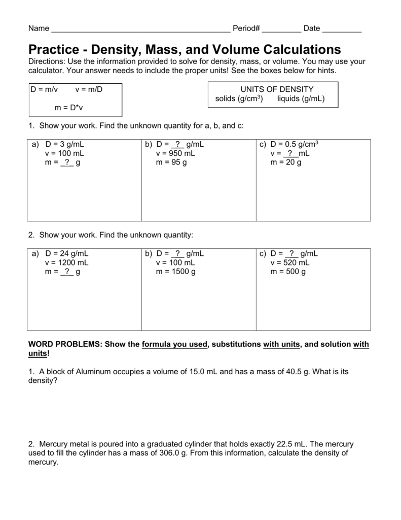 Density Calculations Worksheet I Throughout Density Calculations Worksheet Answer Key