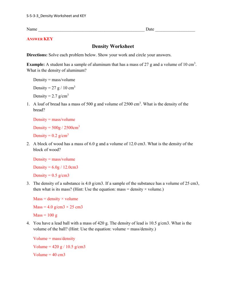 Density Practice Worksheet Answers Pertaining To Density Worksheet Answers Chemistry