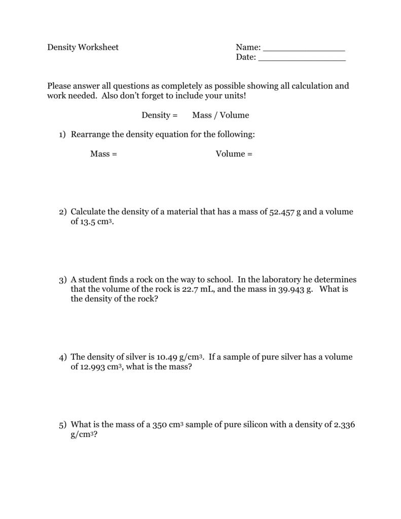 Density Worksheet With Density Worksheet Answers Chemistry