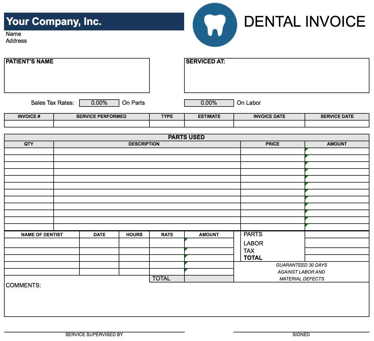 Dental Invoice Template Kostenlos Von Free Dental Invoice Template ... Regarding Dental Invoice