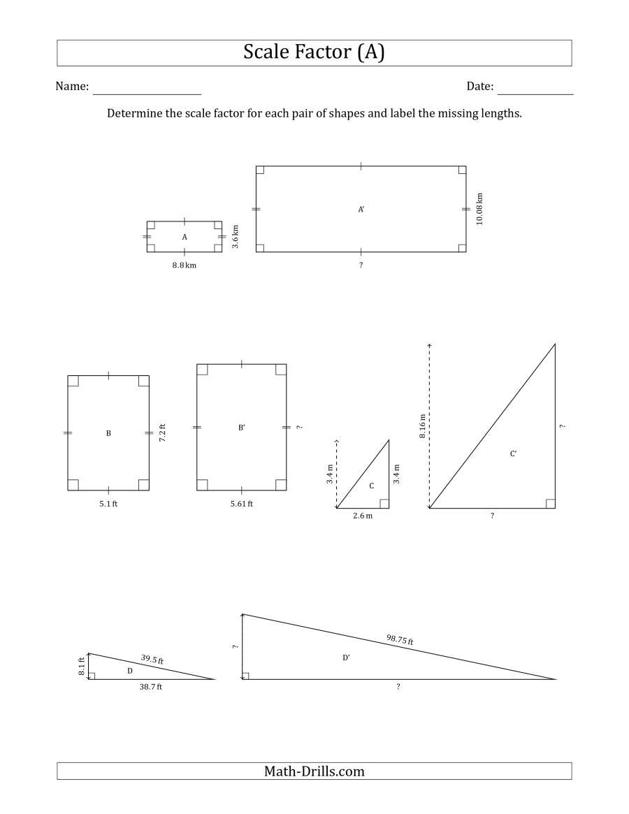 Determine The Scale Factor Between Two Shapes And Determine The Or Scale Practice Worksheet