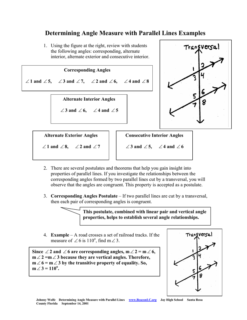 Determining Angle Measure With Parallel Lines Examples Along With Parallel Lines Cut By A Transversal Worksheet Answer Key