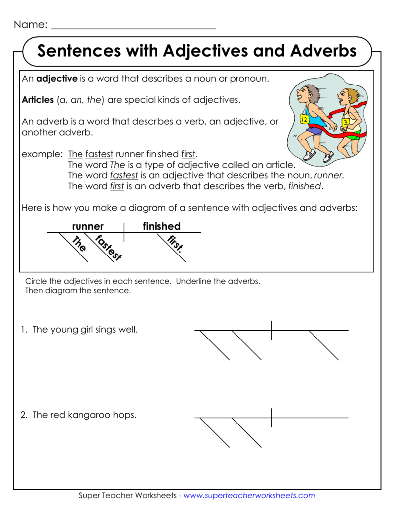 Diagramming Sentences With Adjectives And Adverbs For Diagramming Sentences Worksheets With Answers