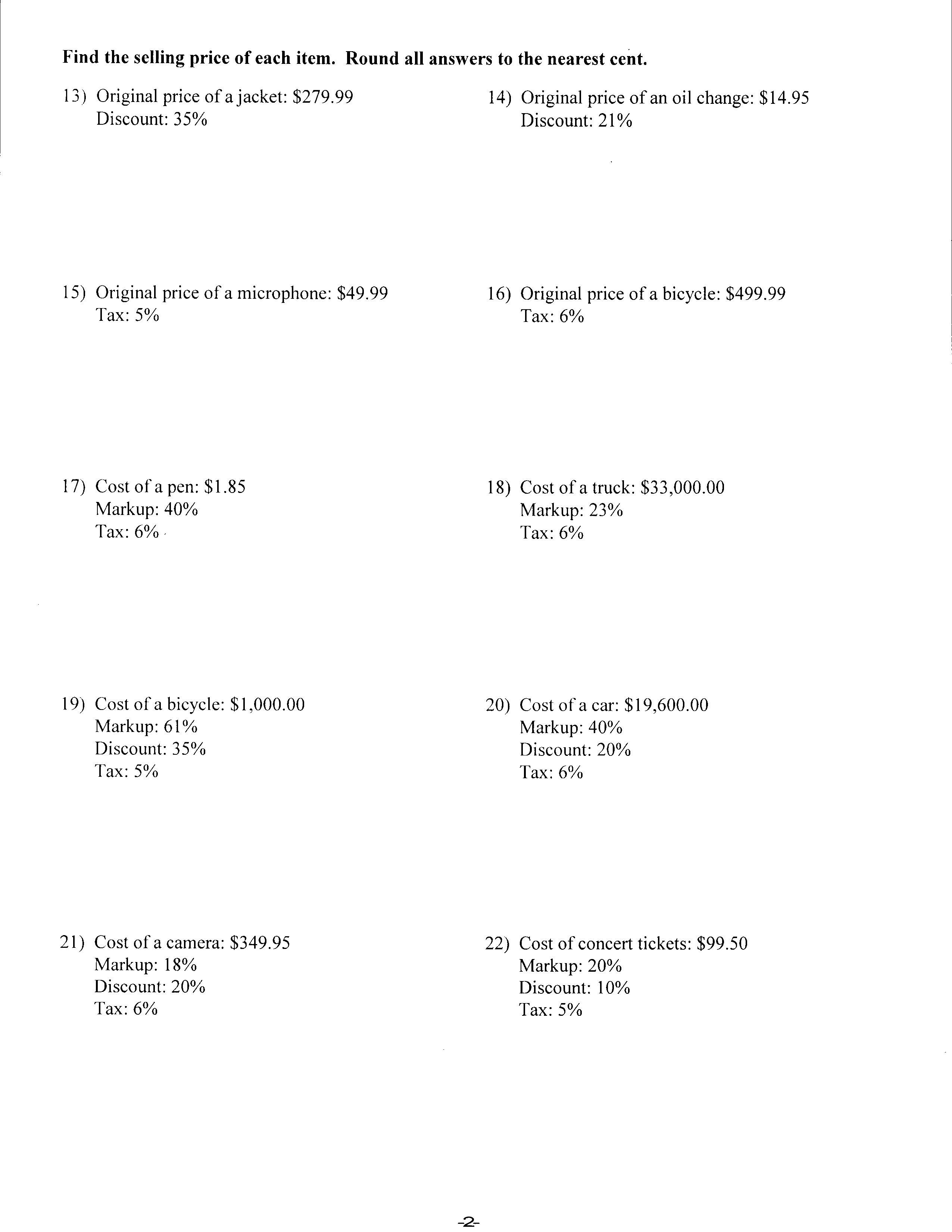 Discount Worksheets  Mathworksheets As Well As Markup And Discount Worksheet