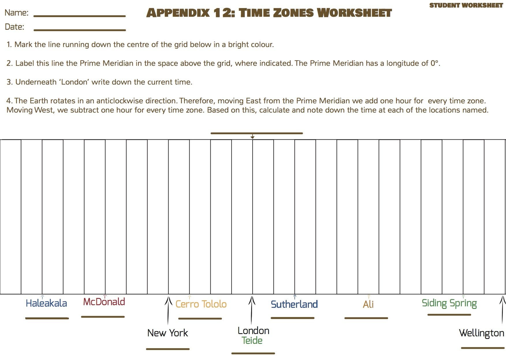 Discover Time Zones · Universe In The Classroom Also Time Zone Worksheet