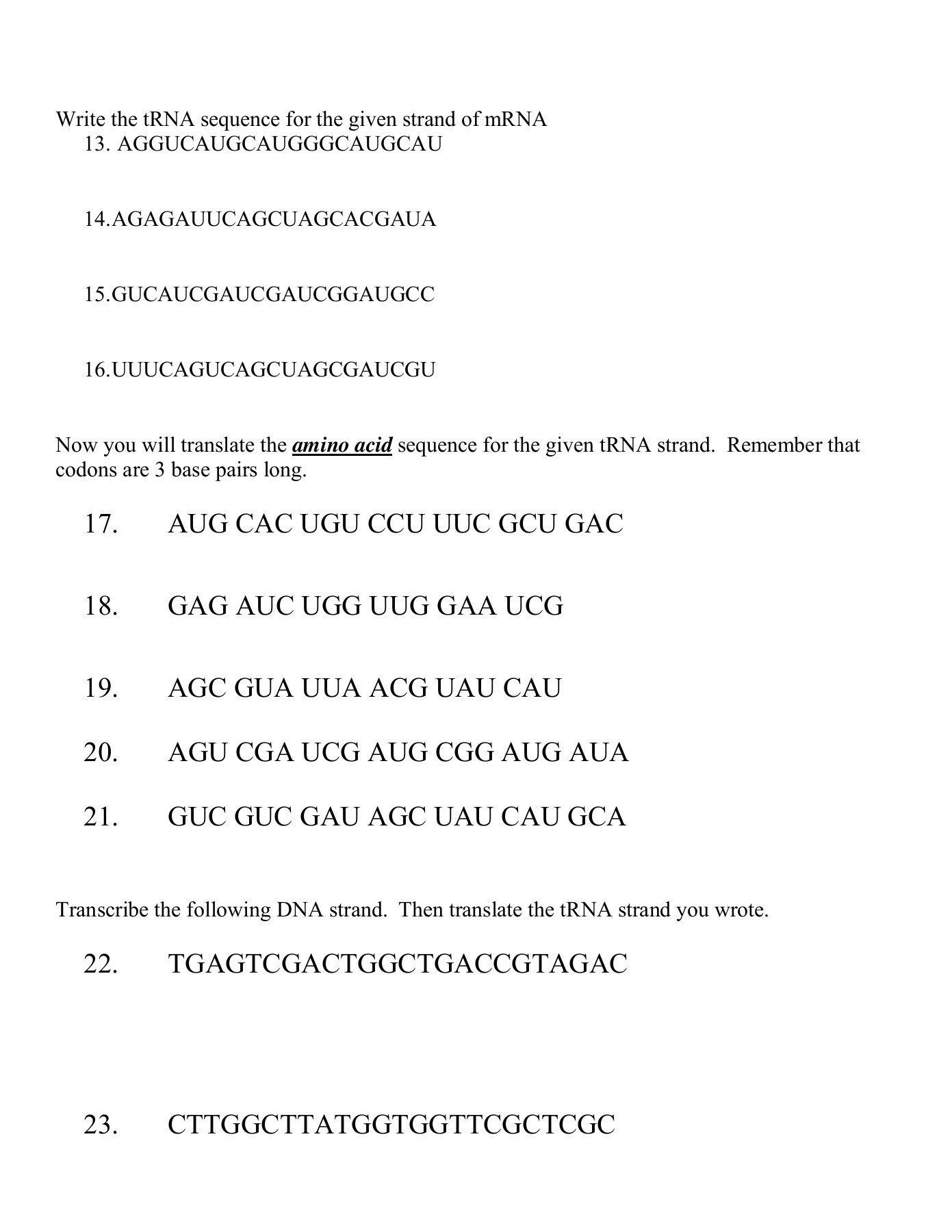 Dna Base Pairing Worksheet Pertaining To Dna Base Pairing Worksheet Answer Key