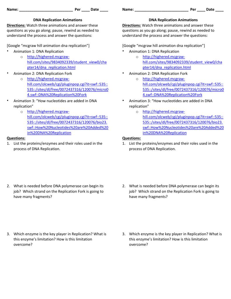 Dna Worksheet Answer Key — excelguider.com