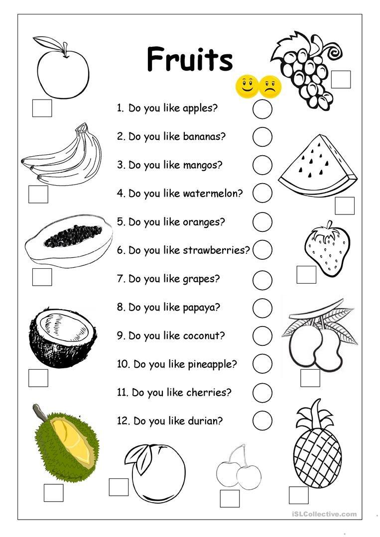 Do You Like Apples  Fruits Worksheet Worksheet  Free Esl Along With Free Printable Esl Worksheets