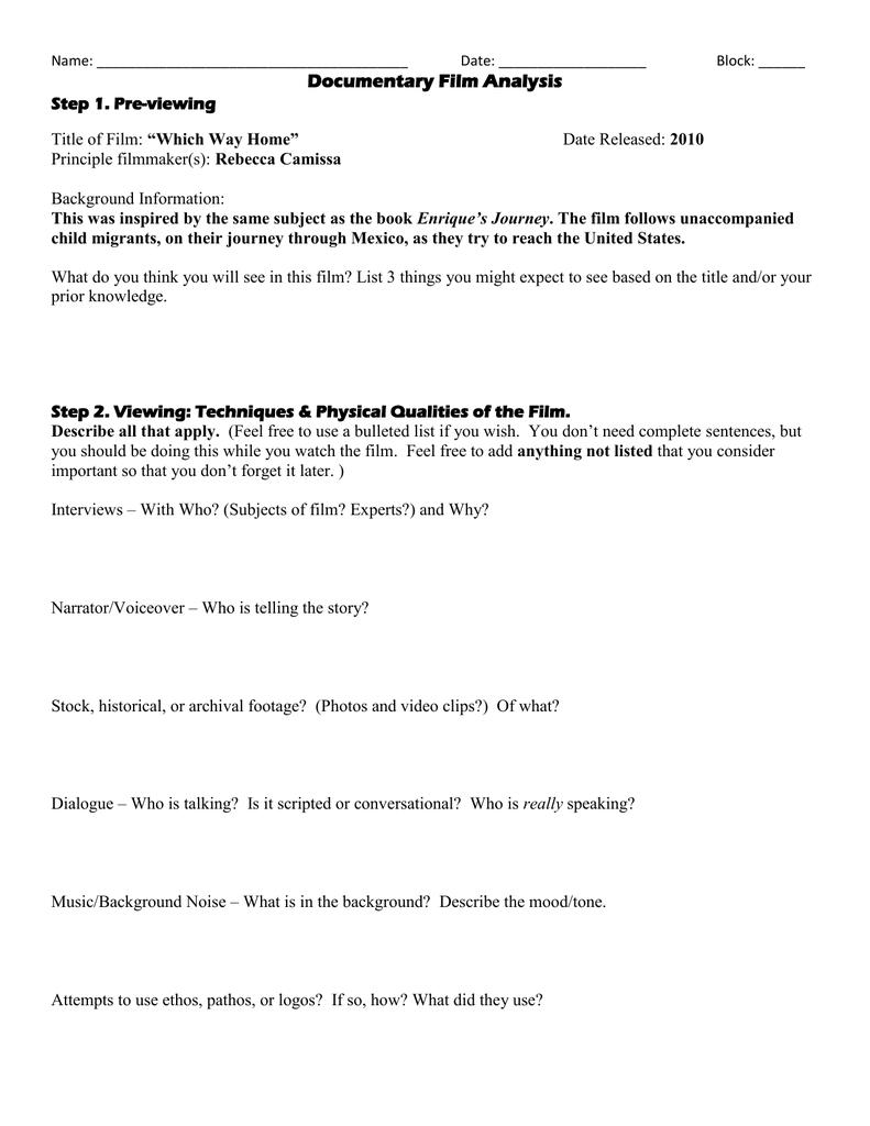 Documentary Film Analysis Worksheet Inside Document Analysis Worksheet
