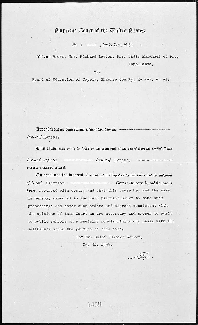 Documents Related To Brown V Board Of Education  National Archives Within Brown V Board Of Education 1954 Worksheet Answers