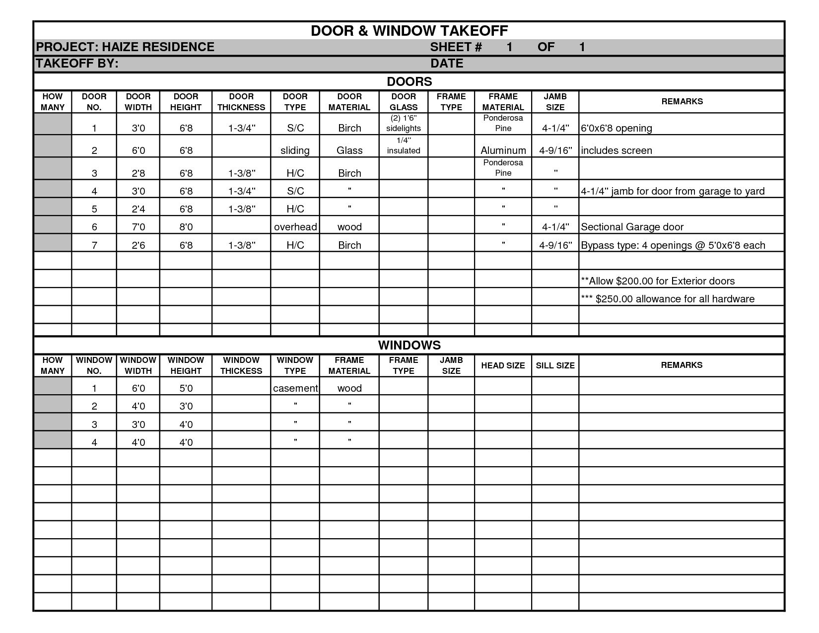 Door And Window Takeoff Sheet Pertaining To Quantity Takeoff Excel Spreadsheet