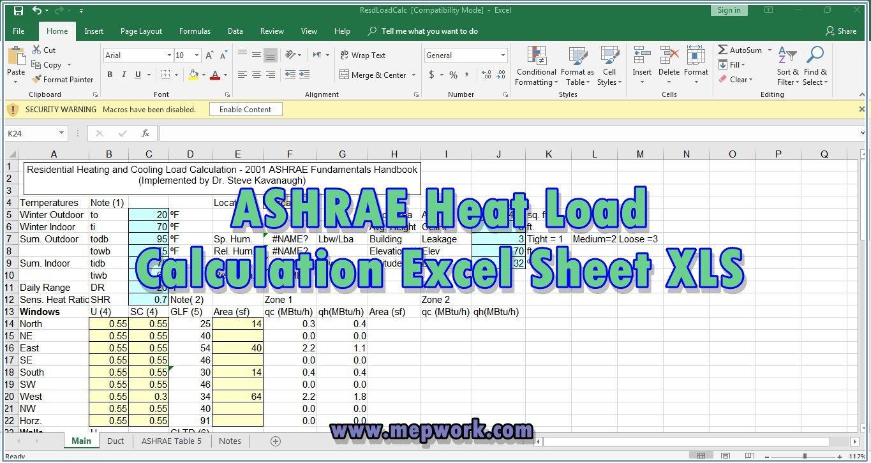 Download Ashrae Heat Load Calculation Excel Sheet Xls Within Heat Load Calculation Spreadsheet