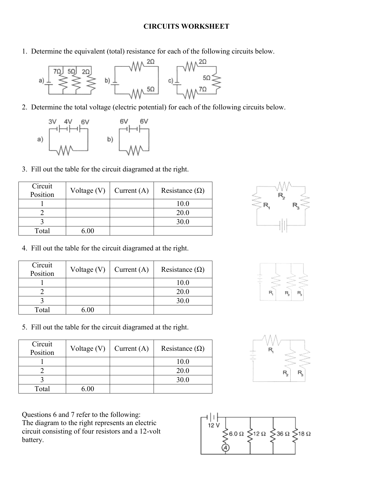 Circuits Worksheet Answer Key — excelguider.com