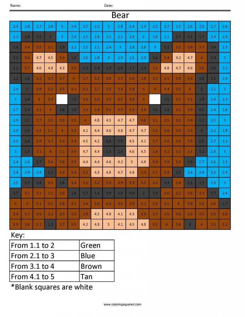 Dp1 Bear Color Free Fractions Decimals Percent Worksheet  Coloring For Fraction Decimal Percent Worksheet
