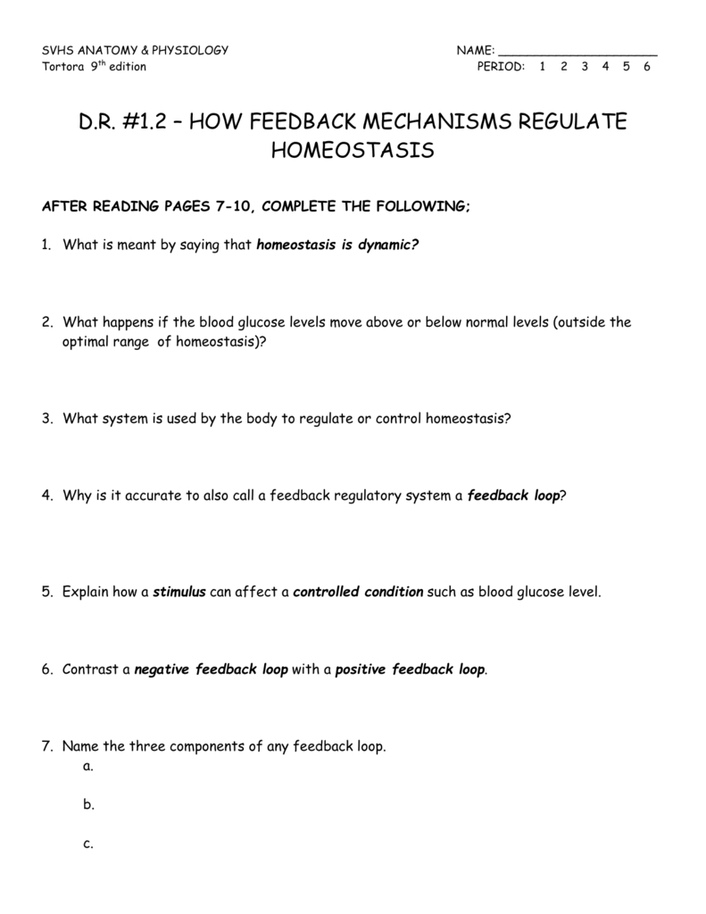 Dr 12 Feedback Loops 9Th Ed And Feedback Loops Glucose And Glucagon Worksheet Answers