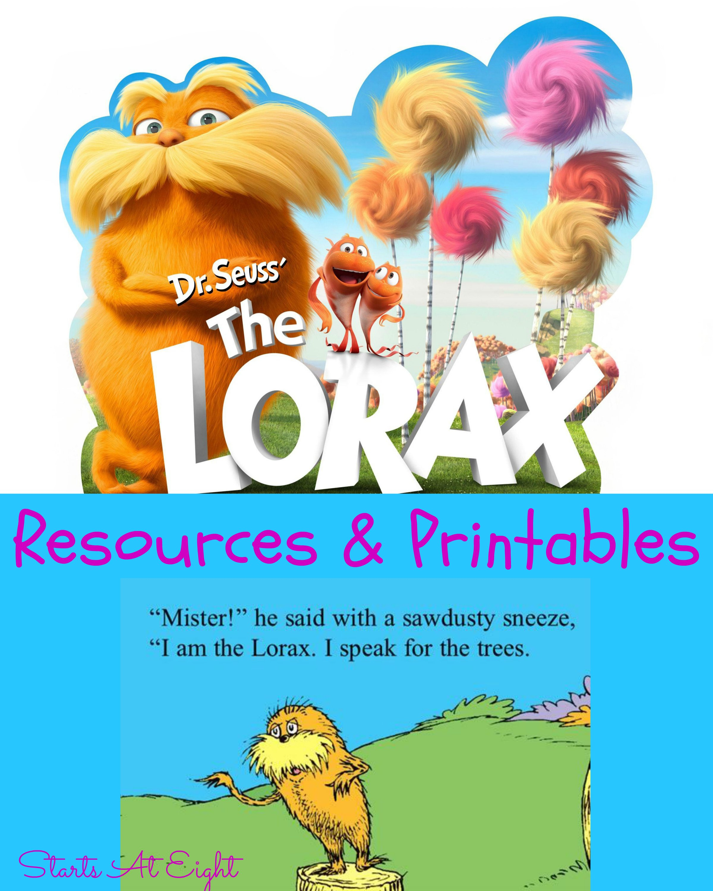 Dr Seuss's The Lorax Resources  Printables  Startsateight Pertaining To The Lorax By Dr Seuss Worksheet