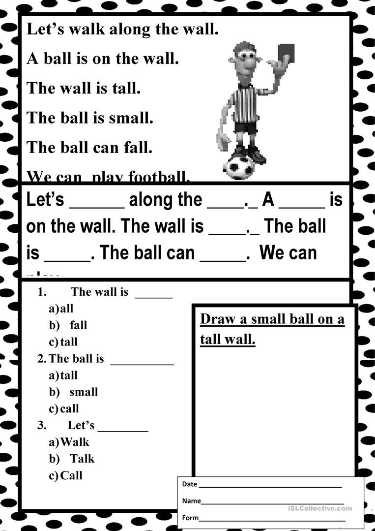 Easy Reading  All  1 Worksheet  Free Esl Printable Worksheets In Easy Reading Worksheets
