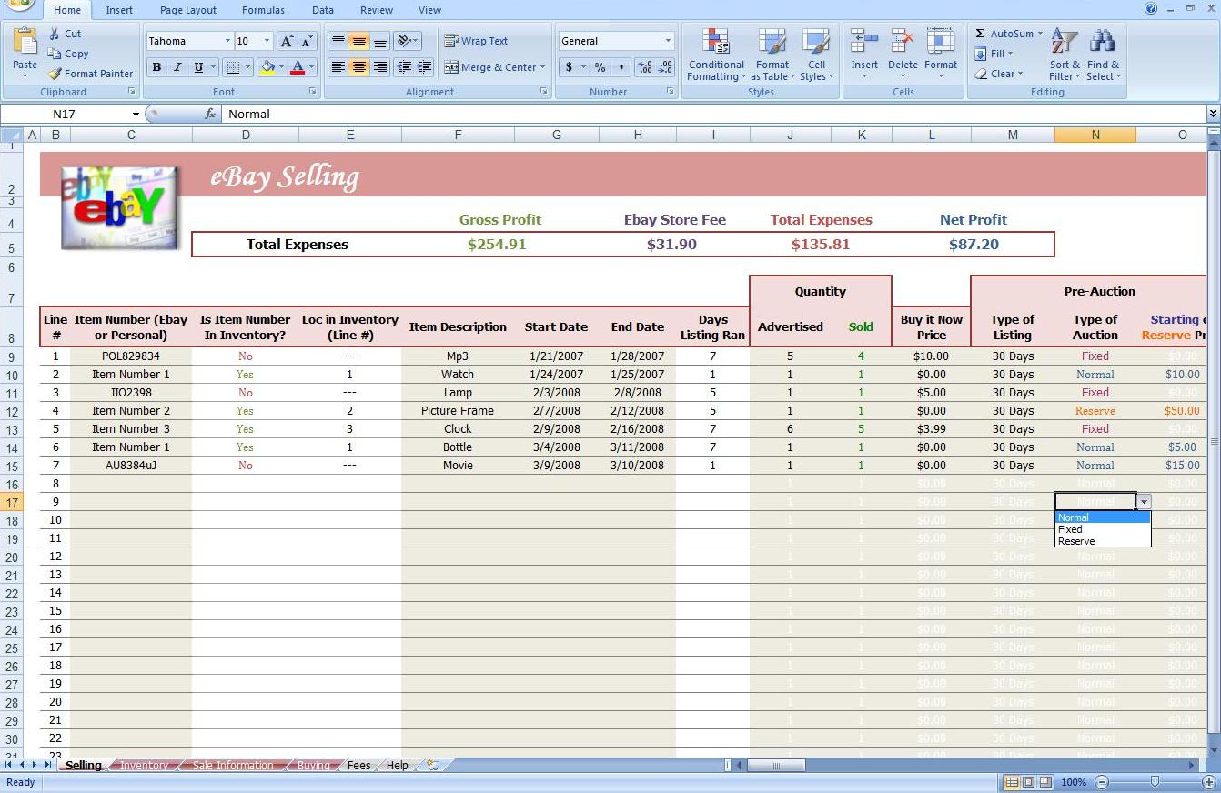 Ebay Store Spreadsheet   Track Profit & Inventory   Software ... As Well As Ebay Inventory Tracking Spreadsheet