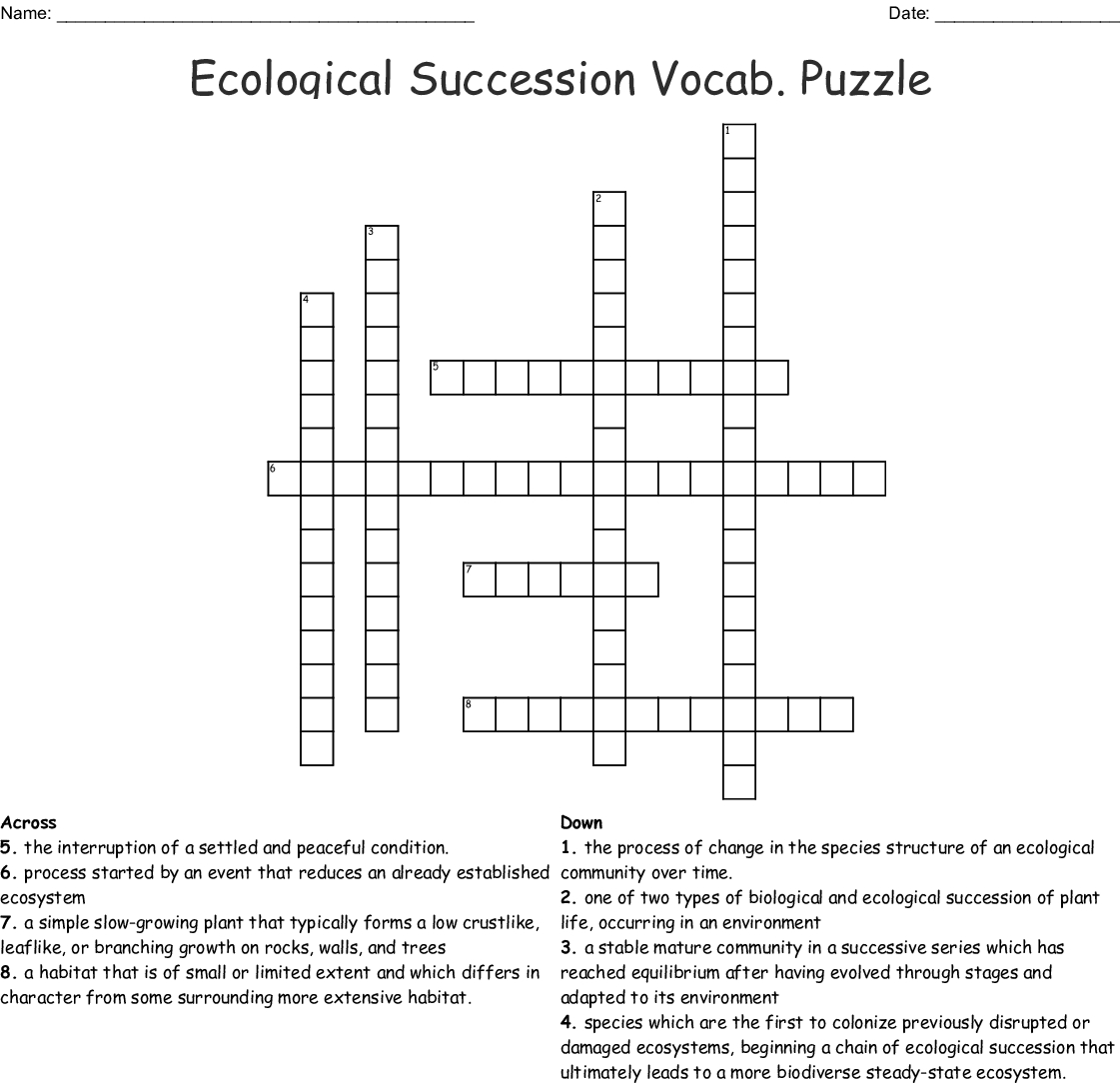Ecological Succession Worksheet Answer Key — excelguider.com
