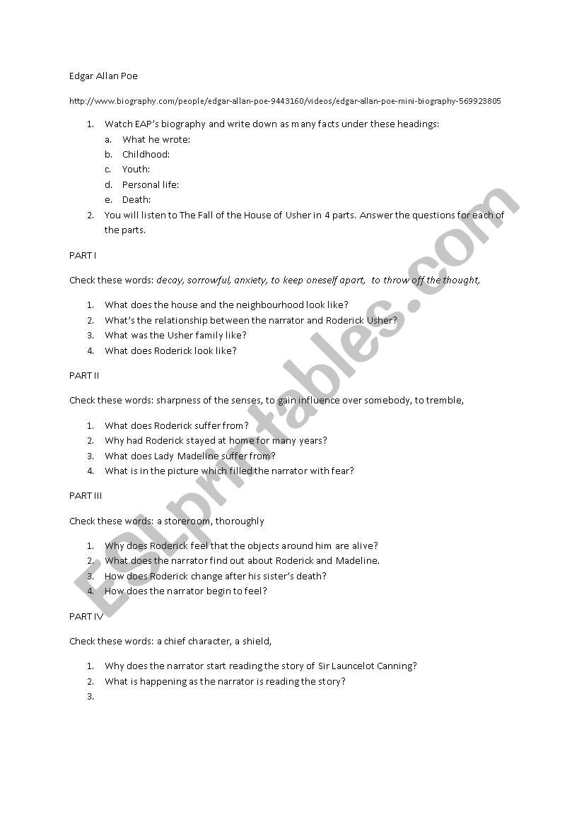 Edgar Allan Poe The Fall Of The House Of Usher For Penguin Readers Within Fall Of The House Of Usher Worksheet Answers