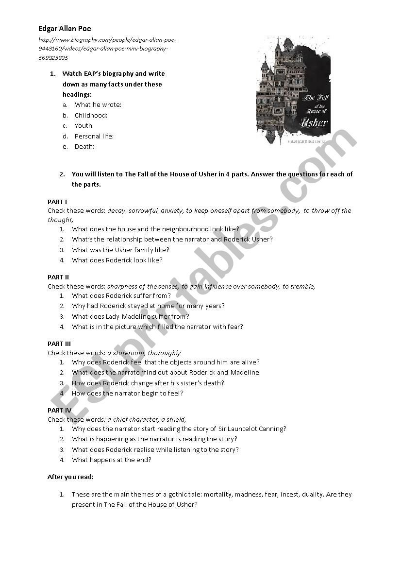 Edgar Allan Poethe Fall Fo The House Of Usher  Esl Worksheet With Regard To Fall Of The House Of Usher Worksheet Answers