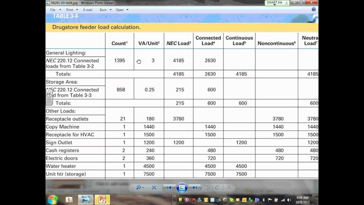 Electrical Commercial Load Calculation Ewc Ch#3 10 09 12   Youtube With Regard To Electrical Panel Load Calculation Spreadsheet