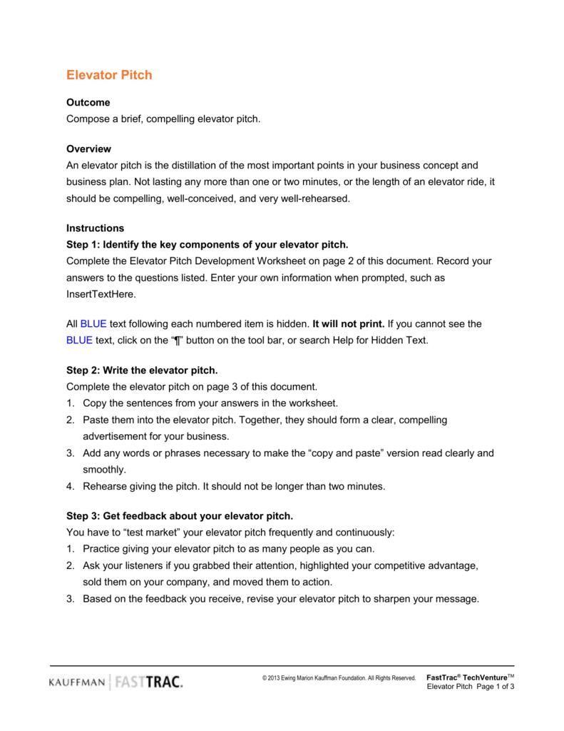 Elevator Pitch  Entrepreneurship Inside Elevator Speech Worksheet