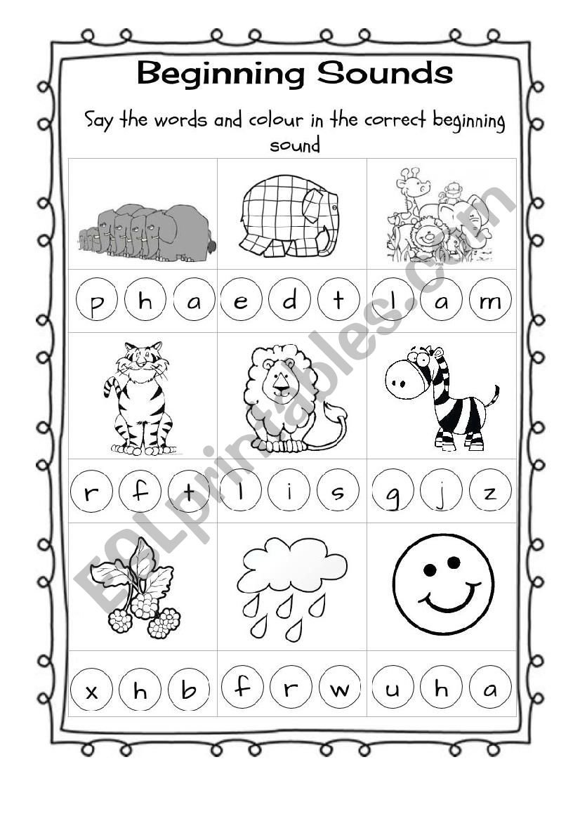 Elmer Beginning Sounds  Esl Worksheetannfenech Or Initial Sounds Worksheets