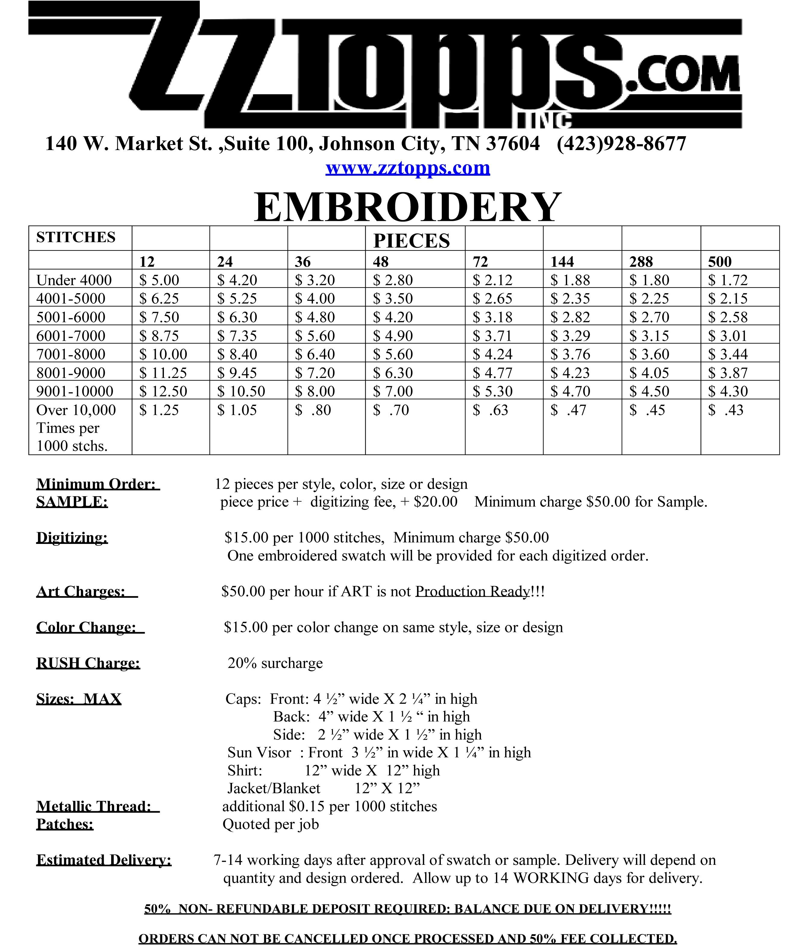 Embroidery Order Form | Embroidery Order Forms   Embroidery Order ... Regarding Embroidery Pricing Spreadsheet