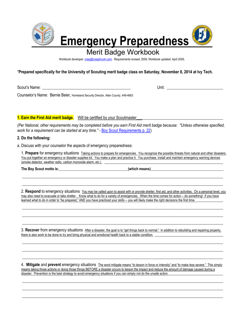Emergency Preparedness Merit Badge Workbook Within Emergency Prep Merit Badge Worksheet