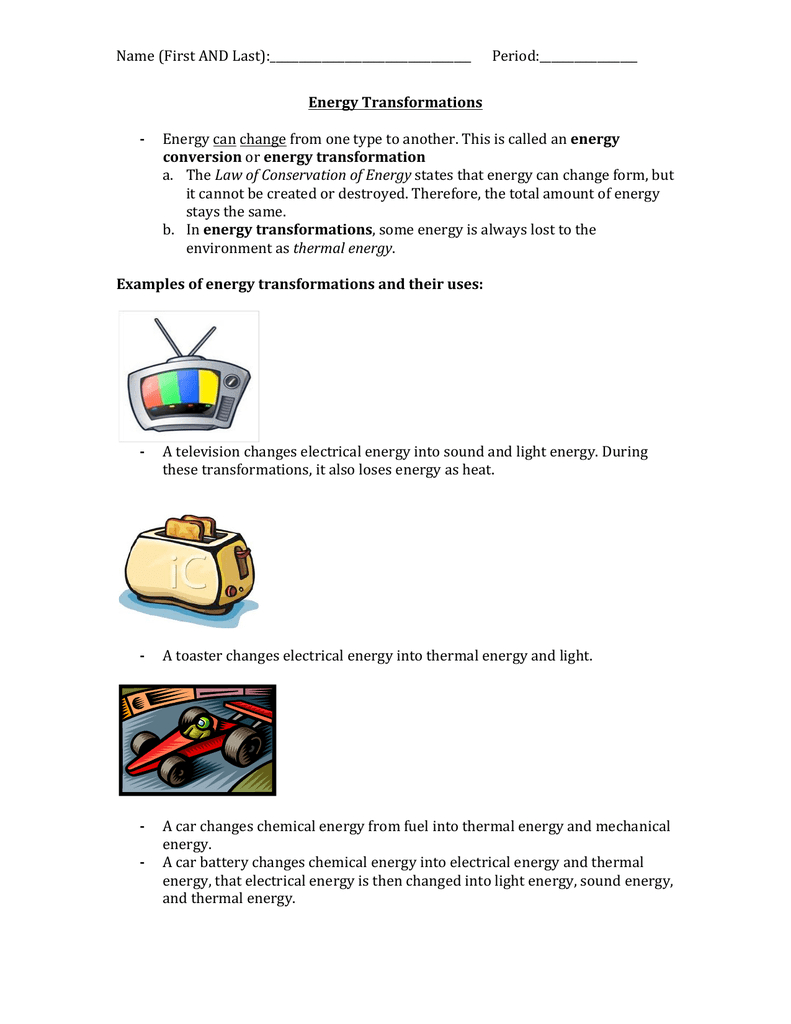Energy Transformations Student Worksheet Or Energy Transformation Worksheet Pdf