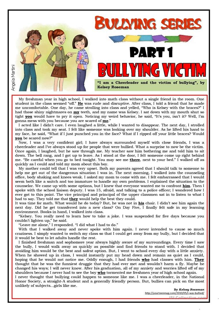 English Esl Bullying Worksheets  Most Downloaded 41 Results Along With Free Bullying Worksheets