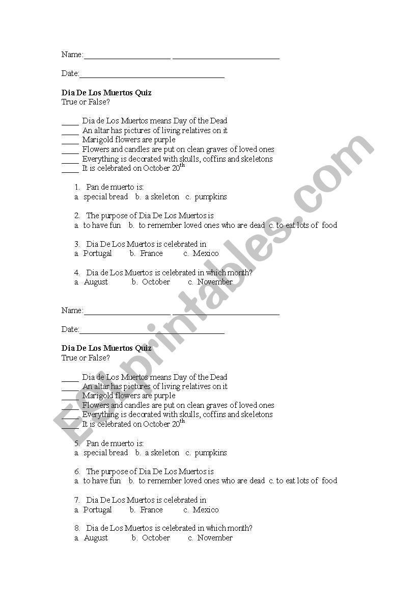 English Worksheets Dia De Los Muertos Quiz For Dia De Los Muertos Worksheet