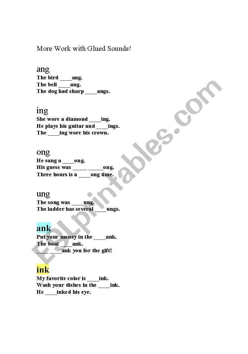 English Worksheets Glued Sounds Also Glued Sounds Worksheet